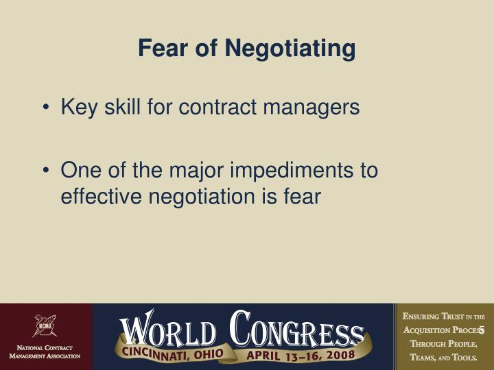 Fear of Negotiating