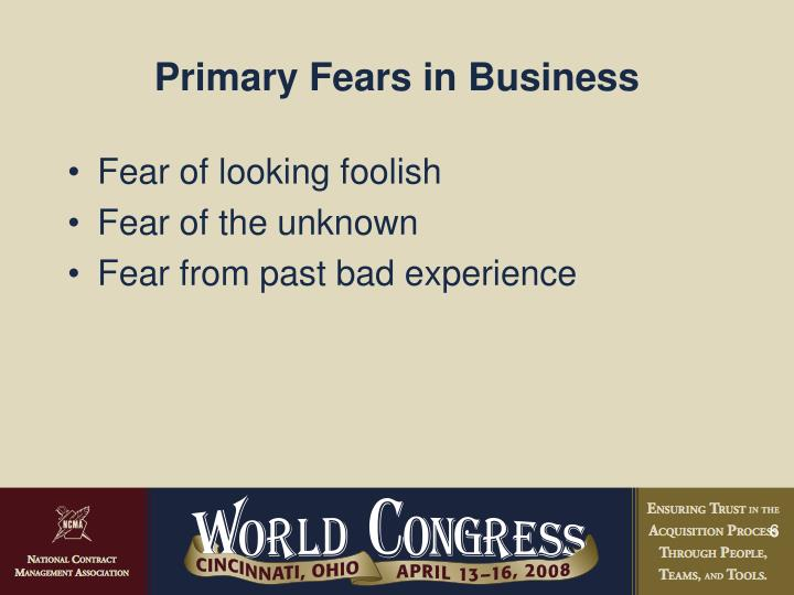 Primary Fears in Business