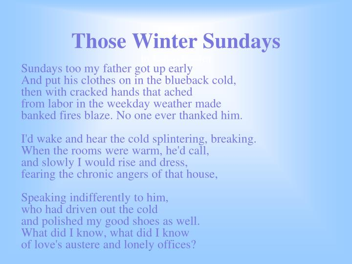 those winter sundays 3 essay Those winter sundays analysis stanza 3: the speaker loved his father but he also hated him in a way even though he did a lot for him tone.