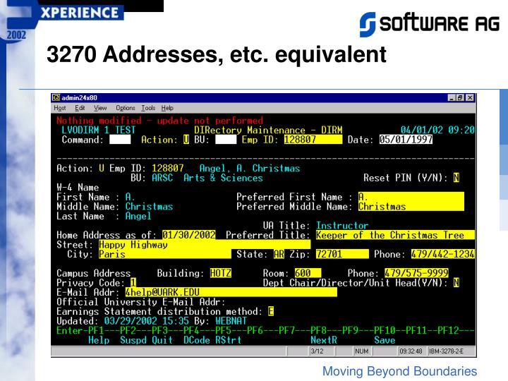 3270 Addresses, etc. equivalent