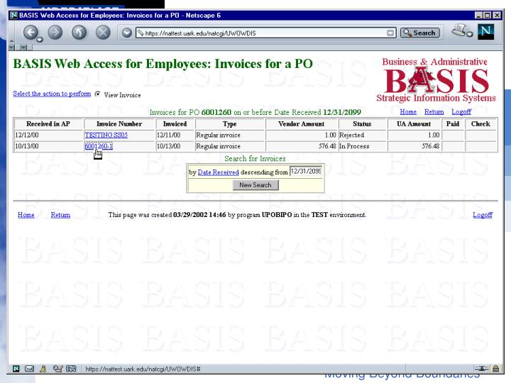 Browse Invoices for PO