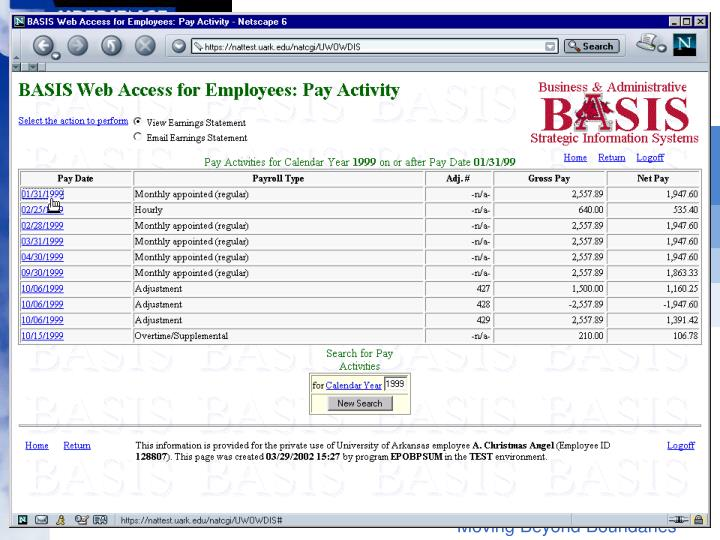 Browse pay activity