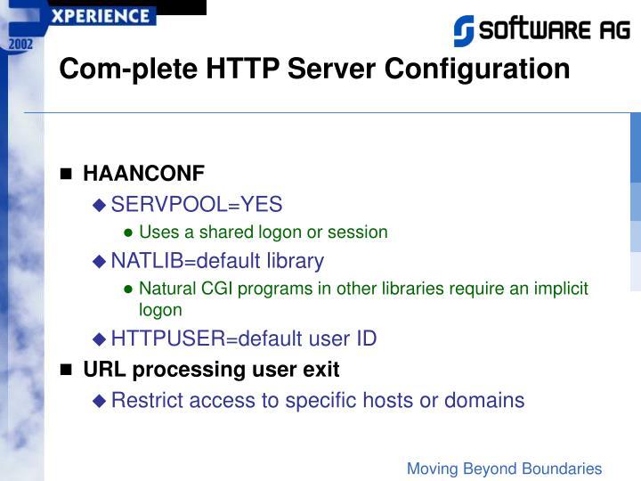 Com-plete HTTP Server Configuration