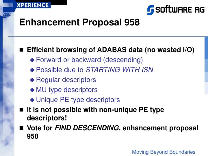 Enhancement Proposal 958