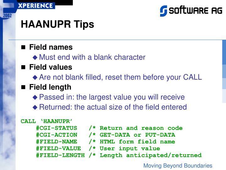HAANUPR Tips