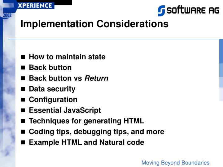Implementation Considerations
