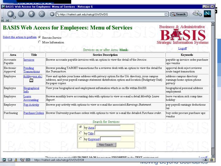 Main menu, select addresses