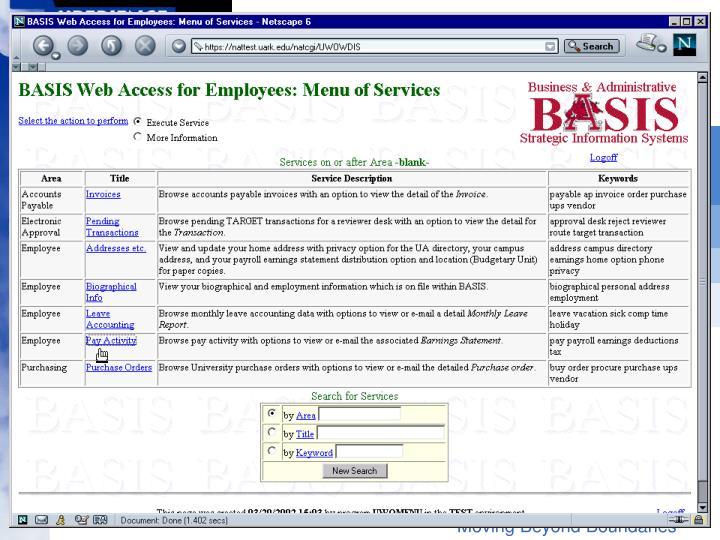 Main menu, select pay activity
