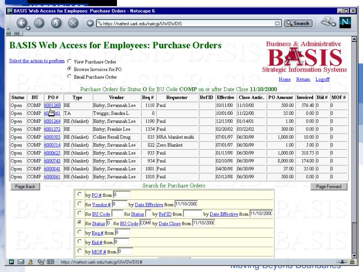 Select a PO to Browse Invoices for PO