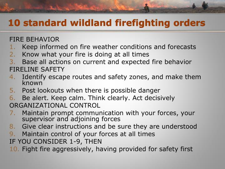 10 standard wildland firefighting orders