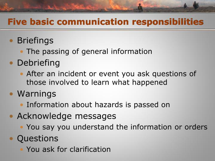 Five basic communication responsibilities