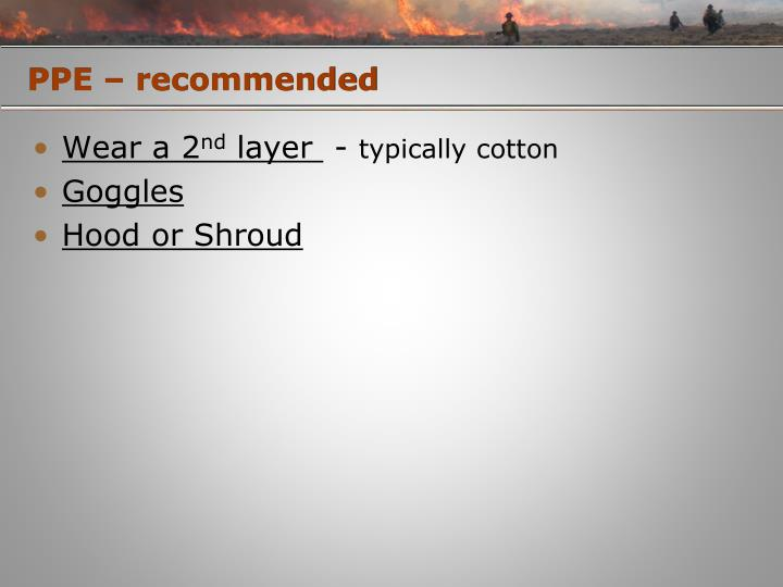 PPE – recommended