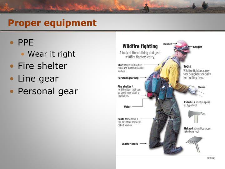 Proper equipment