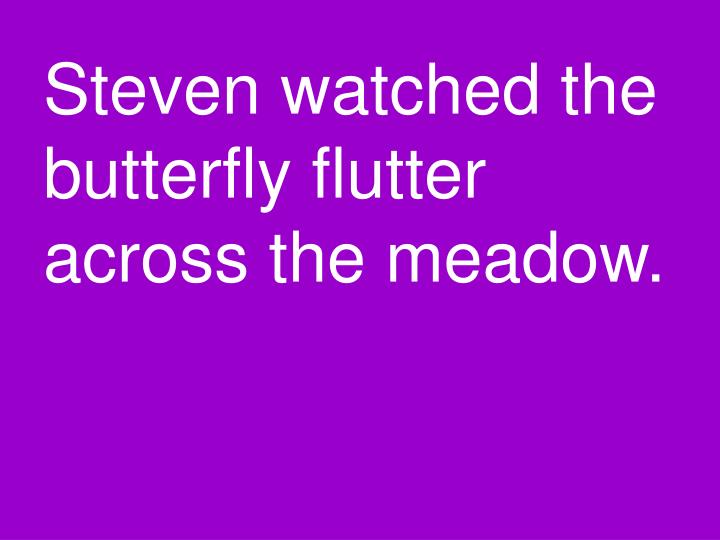 Steven watched the butterfly flutter across the meadow.