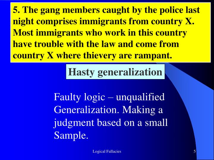 5. The gang members caught by the police last night comprises immigrants from country X. Most immigrants who work in this country have trouble with the law and come from country X where thievery are rampant.