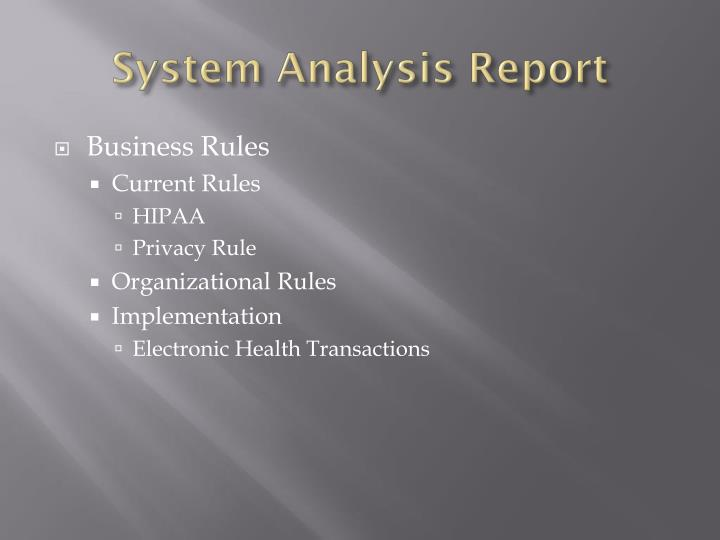 System Analysis Report