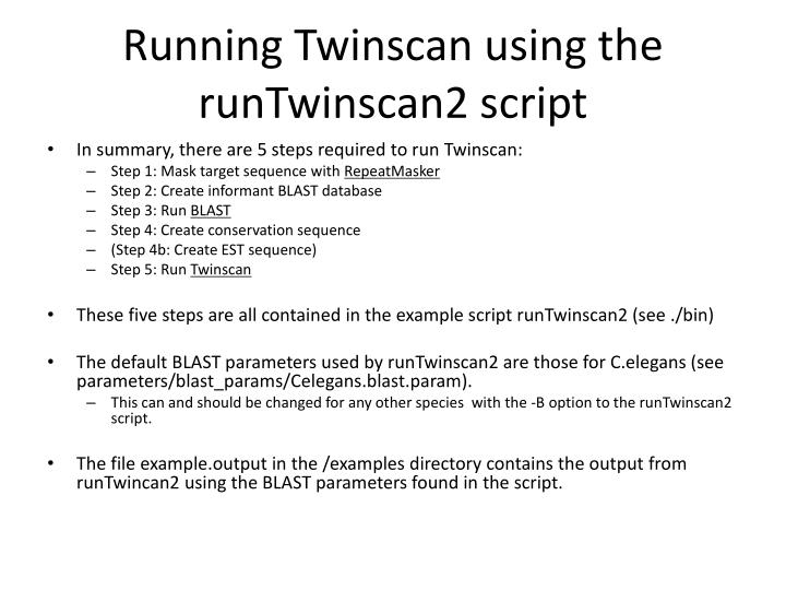 Running Twinscan using the runTwinscan2 script