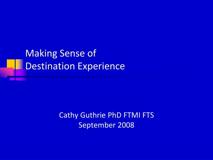 Making sense of destination experience