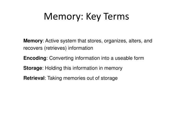 Memory: Key Terms