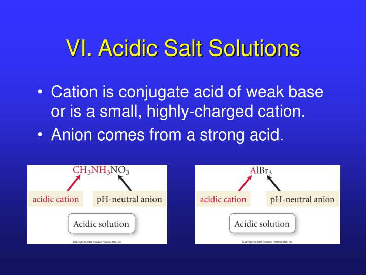 VI. Acidic Salt Solutions