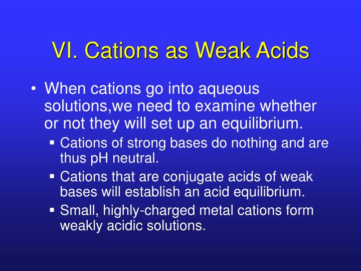 VI. Cations as Weak Acids