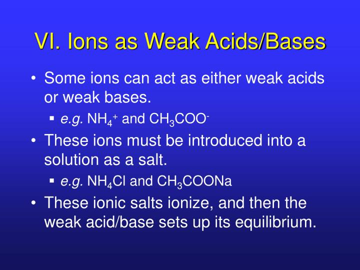 VI. Ions as Weak Acids/Bases
