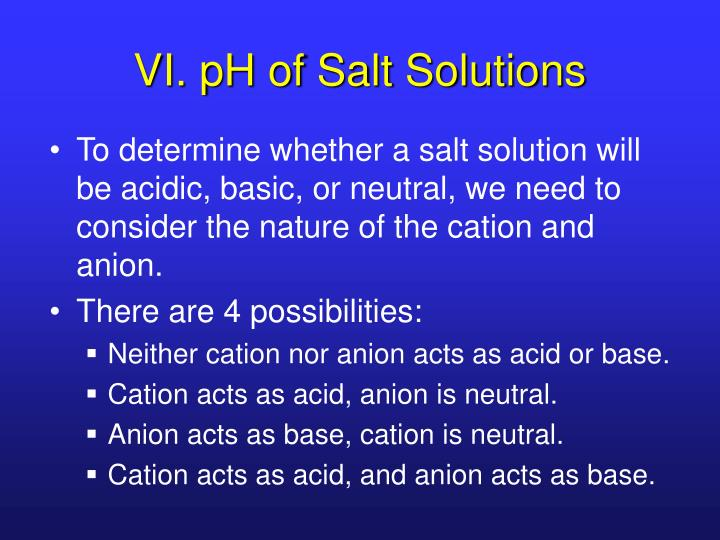 VI. pH of Salt Solutions