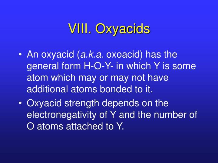 VIII. Oxyacids