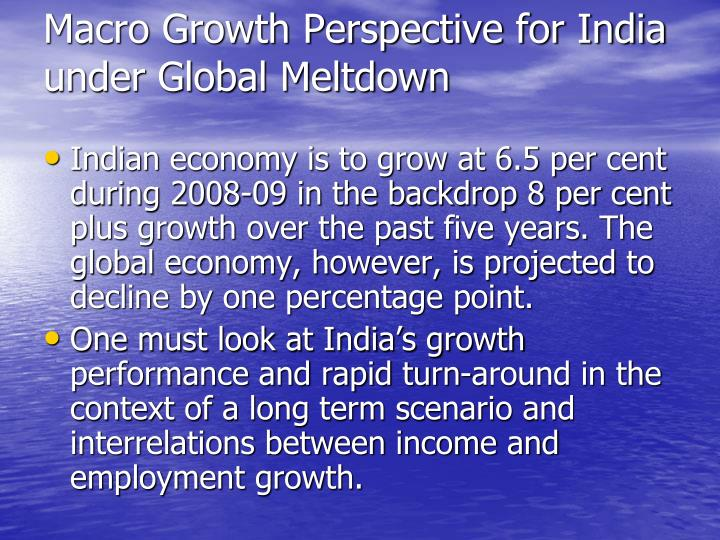 Macro Growth Perspective for India under Global Meltdown