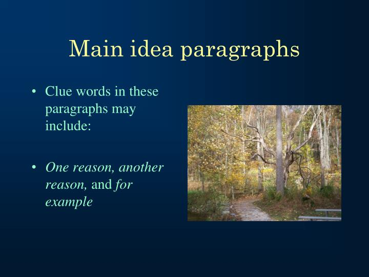 Main idea paragraphs