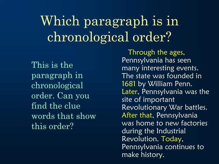 Which paragraph is in chronological order?