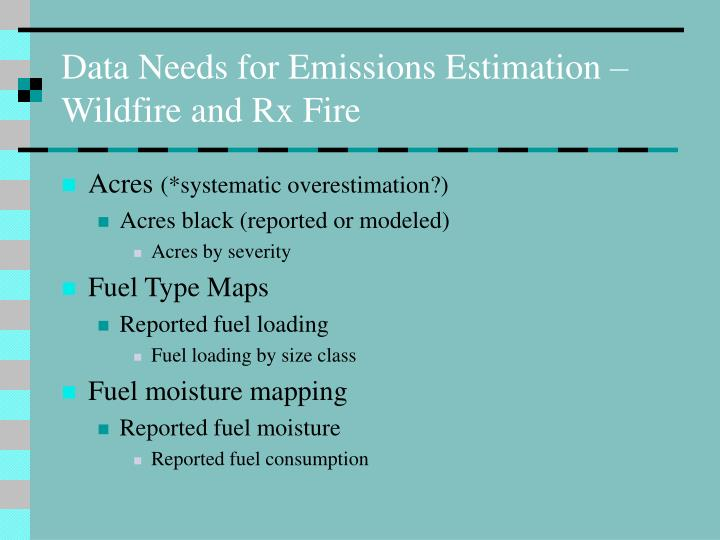 Data Needs for Emissions Estimation – Wildfire and Rx Fire