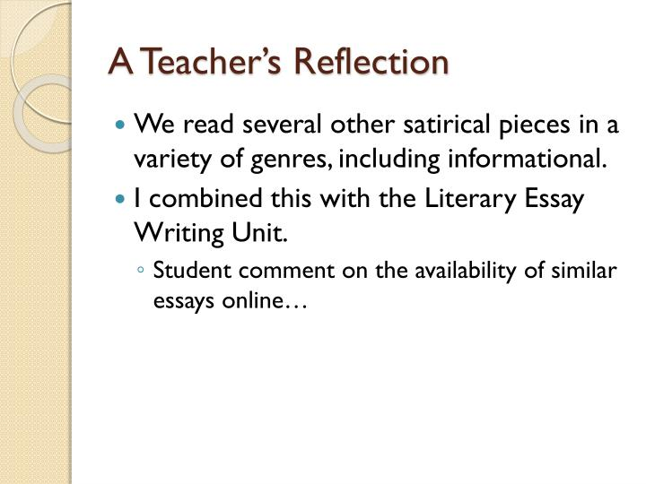 A Teacher's Reflection