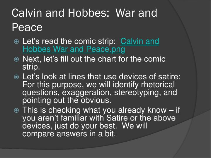 Calvin and Hobbes:  War and Peace