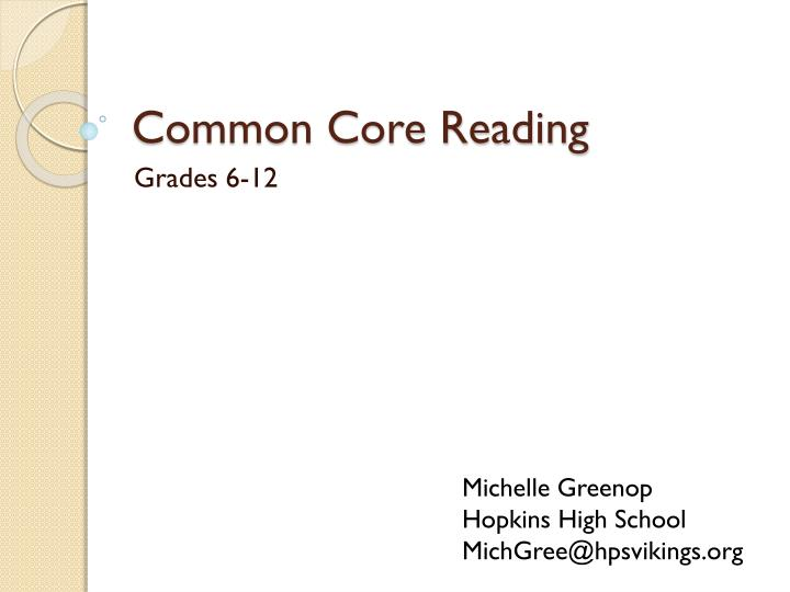 Common core reading