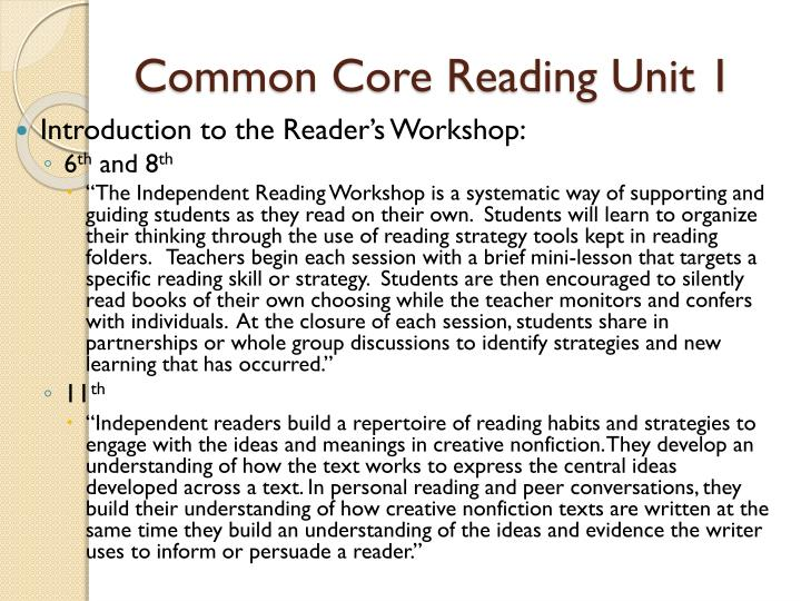 Common Core Reading Unit 1