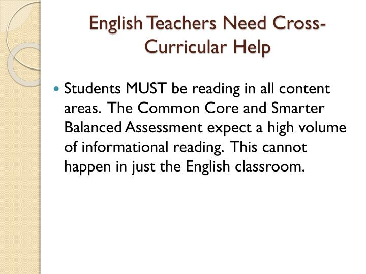 English Teachers Need Cross-Curricular Help