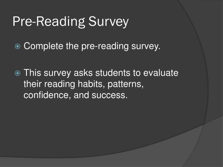 Pre-Reading Survey