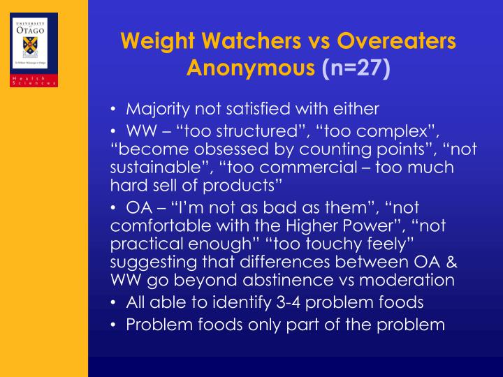 Weight Watchers vs Overeaters Anonymous