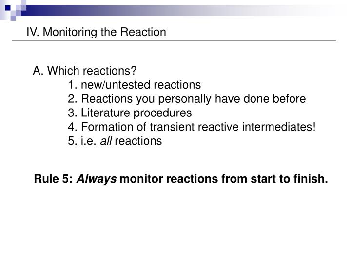 IV. Monitoring the Reaction