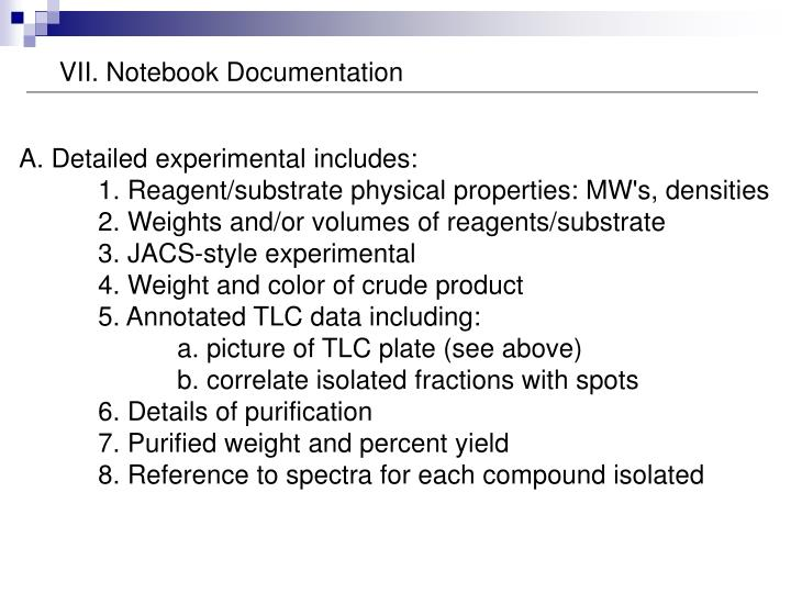 VII. Notebook Documentation