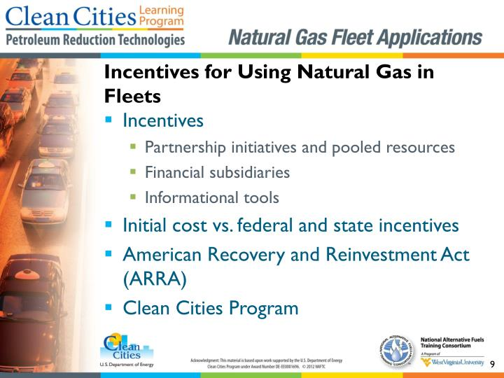Incentives for Using Natural Gas in Fleets