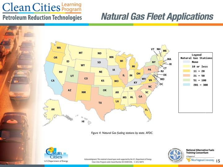 Figure 4: Natural Gas fueling stations by state. AFDC.