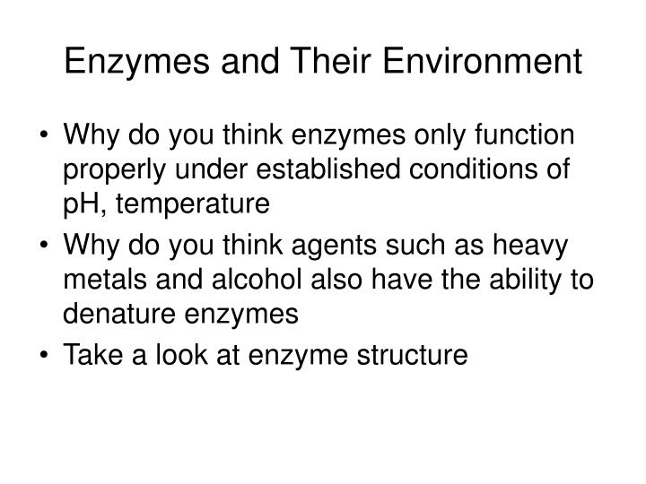 Enzymes and Their Environment