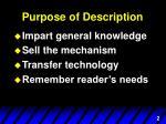 purpose of description