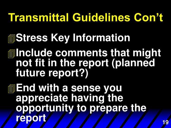 Transmittal Guidelines Con't