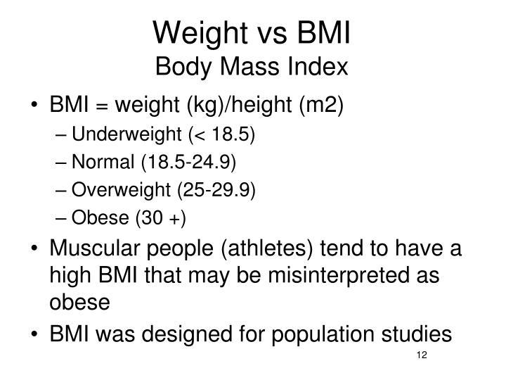 Weight vs BMI
