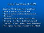 early problems of nsw