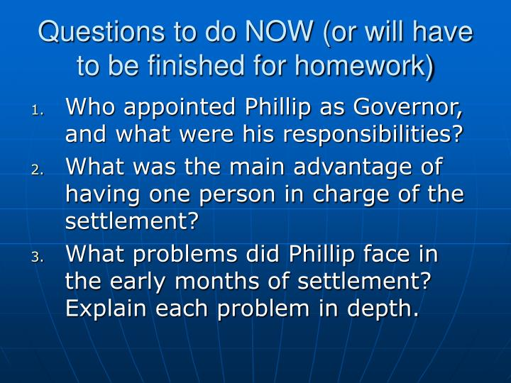 Questions to do NOW (or will have to be finished for homework)