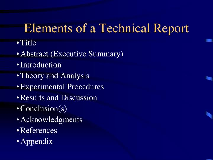 Elements of a Technical Report